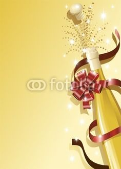 Champagne Bottle with Red Bow Party Background-Vector © bluedarkat