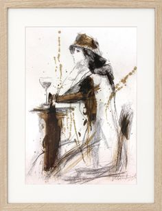 Original artistic drawing, Charcoal Sketch, Woman with glass of wine, Figurative Graphic art, Modern artwork, Wall art Decor, Female Figure by IvMarART on Etsy