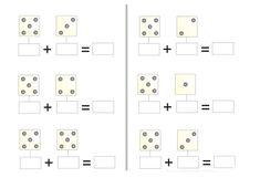 Fichas matemáticas para imprimir. Escribe la cantidad de puntos en cada dado. Realiza las sumas correspondientes.