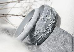 """Купить Браслеты """"Сизый вечер"""" из полимерной глины - браслет, растительный, сухоцветы, эко, сплошной браслет"""