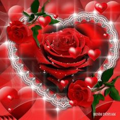 Rose and heart Rose Images, Heart Images, Hearts And Roses, Red Roses, Purple Hearts, Beautiful Gif, Beautiful Flowers, Animated Heart, Heart Wallpaper