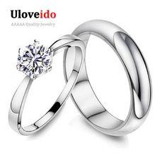 Uloveido 15% off 2 unids de plata amantes del anillo de boda blanco de los hombres Anillos de pareja para Hombres y Mujeres de Joyería de Moda Anillos Mujer J063