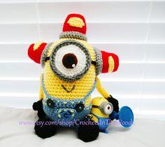 Crochet Amigurumi 10 Plush Doll Minion Carl by CrochetsInTheWoods, $42.99
