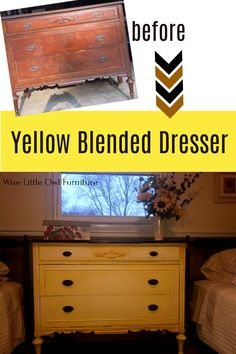 This adorable vintage dresser got a new but still timeworn look full of character with shades of yellow - Dixie Belle Colonel Mustard, Daisy, Lemonade and Buttercream. Click to learn how to create this look on your own furniture. #paintedfurniture #dixiebellepaint #bestpaintonplanetearth Diy Furniture Projects, Paint Furniture, Furniture Makeover, Refurbished Furniture, Repurposed Furniture, Painted Vanity, Painted Dressers, Yellow Dresser, Dixie Belle Paint