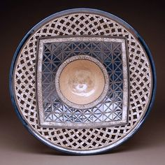 Pebbled white and blue bowl - Eric Stearn