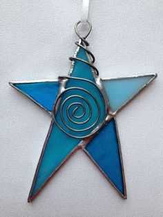 Stained Glass Ornament Aqua Blue Star with Wire by MamaAgees