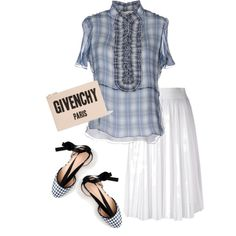 A fashion look from April 2017 featuring Chloé blouses, Givenchy skirts and J.Crew flats. Browse and shop related looks.