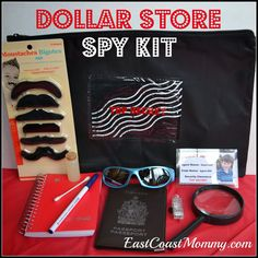 "DIY Dollar Store Spy Kit... perfect loot bag for a ""Spy Themed"" party (under $8... and could be made for less with less items)"