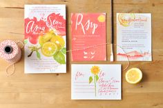 Lemon and sunflower wedding invite by Julie Song Ink