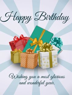 Happy Birthday Gift Boxes Card