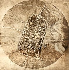 Historical City Map Of Imola, Italy by the Italian artist / scientist Leonardo da Vinci Vintage Maps, Antique Maps, Map Globe, Old Maps, Historical Maps, Plans, Art And Architecture, Designer, Sketches