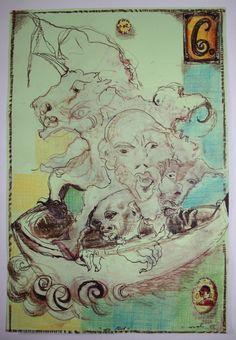 """""""Die Flut"""", Zeichnung, Mischtechnik auf grünem Papier, 2002, 21,7 x 32,5 cm, 800,- EURO, Anfragen an Werkeverwaltung Cazals - Britta Kremke, b.kremke@kremke.de, Tel. 038722-227-14"""