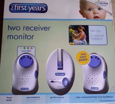 The First Years Two Receiver Baby Monitor, Model Y 3040 Learning Curve NIB #TheFirstYears