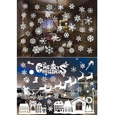 Lataw Wall Stickers Merry Christmas Window Wall Art Mural Cling Decals Santa Claus Xmas Tree Home Decoration for Kids Room Decor