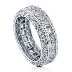 Sterling Silver Cubic Zirconia CZ Womens Wedding Bridal Anniversary Eternity Band Ring available at joyfulcrown.com