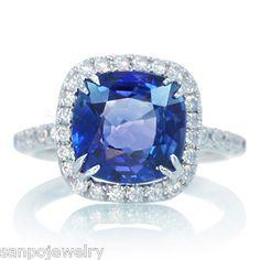 18K 4.65CT WHITE GOLD CUSHION CEYLON SAPPHIRE DIAMOND ENGAGEMENT HALO RING