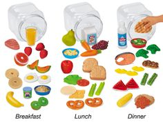 Healthy Meals Play Food - Complete Set - Children practice creating healthy meals with our lifelike play food sets! Healthy Food Options, Healthy Recipes, Healthy Meals, Teacher Wish List, Happy At Work, Play Food Set, Best Educational Toys, Lakeshore Learning, Make Good Choices
