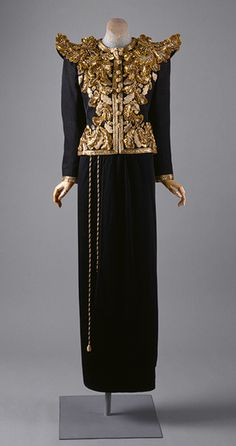 Evening ensemble, spring/summer 1980 Yves Saint Laurent. Gilt embroidered black silk gazar