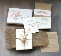 Burlap Wedding Invitations Peach Wedding Invitation by BeaconLane