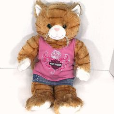 Build A Bear Orange Stripe Cat 17 In Pink Harley Davidson Bling Tank Jean Skirt #BuildaBear #AllOccasion