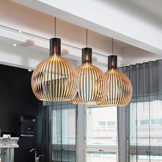 Modern Black Wood Birdcage bulb Pendant light norbic home deco bamboo weaving wooden Pendant lamp _ {categoryName} - AliExpress Mobile Version - Bamboo Pendant Light, Bamboo Light, Led Pendant Lights, Led Ceiling Lights, Room Lights, Ceiling Lamp, Pendant Lamp, Wooden Chandelier, Wood Lamps
