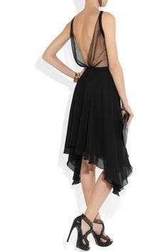Faith Connexion|+ Isabeli Fontana Mesh-trimmed silk dress|NET-A-PORTER.COM