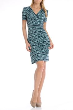 Evan Picone Chained Stripes Wrap Skirt Dress in Cool Mint - Beyond the Rack