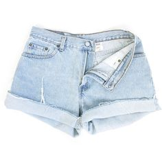 Faded Light Blue Denim Cutoff Shorts ($27) ❤ liked on Polyvore featuring shorts, high rise denim shorts, cut off jean shorts, vintage denim shorts, cut-off shorts and high-waisted jean shorts