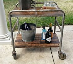 Industrial Bar Cart Rolling Rustic Table by tarnishedhinge