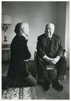 Andy Warhol meets Alfred Hitchcock, 1974 - photo by Jill Krementz