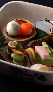 Japanese Kaiseki Cuisine Temarizushi (Bite-sized Sushi Balls) at HOSHINOYA, Kyoto Japan