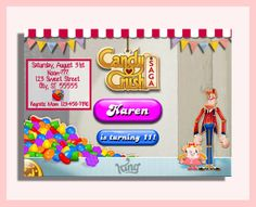 Invitación de bricolaje Candy Crush por SUSHIDOLLI en Etsy 50th Birthday, Birthday Ideas, Candy Crush Party, Kitty Party, Saga, Shower Ideas, Party Ideas, Baby Shower, Cakes