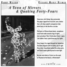 """Image: """"Days In San Francisco #1, 1984"""" by Harry Wilson. """"A Town of Mirrors and Quaking Forty-Fours"""" was written by Richard Manly Heiman for Rattle's Ekphrastic Challenge, January 2017, and selected by Wilson as the Artist's Choice winner.  More on this poem and image:  http://www.rattle.com/a-town-of-mirrors-and-quaking-forty-fours-by-richard-manly-heiman/"""