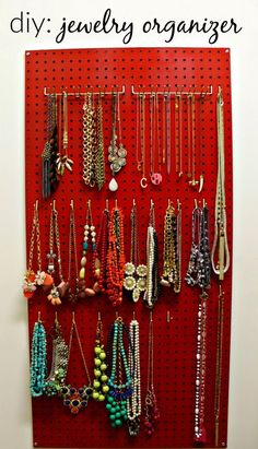 Peg boar jewelry organization - Could make fit behind a full length mirror [Our Fifth H] #Home Garden