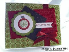 """Stamps: Ornament Keepsakes, Teeny Tiny Wishes  Paper: Festival of Prints DSP, Cherry Cobbler card stock, Early Espresso card stock, Lucky Limeade card stock, Whisper White card stock  Ink: Cherry Cobbler ink and marker, Lucky Limeade ink and marker, Versamarker  Accessories: Silver Stampin' emboss powder, 2 3/8"""" scallop circle punch, 1 3/4"""" circle punch, Snowburst embossing folder, perfect polka dots embossing folder, Itty Bitty Banner framelits, Cherry Cobbler 1/2"""" Seam Binding Ribbon"""