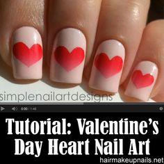 Valentine's Day Heart Nail Art | Simple Nail Art Designs via Hair, Makeup, & Nails