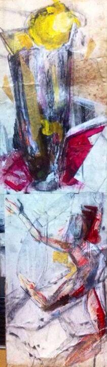 'Ice-cream Sundaes And Dancing.' Mixed Media On Card. #RosannaJacksonWright #Art #Drawing. #Abstract #Figurative #IceCream #Sundaes #York #England #NYC #USA #Genoa #Italy #Mexico