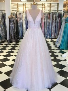 041325bb951e8 A Line Sequin Pink Long Prom Dresses Cheap Ball Gown Prom Dress APD3258