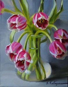 """Daily Paintworks - """"Tulips in Vase"""" by Elena Katsyura"""