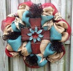 Cross Burlap Wreath, Cross Wreath,  burlap, blue, burgundy Wreath, Door Wreath, Home Decor