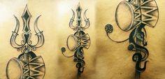 Mythological Customized Tattoo of Lord Shiva's Trishul, Damru & Snake - Tattoo Studio in India