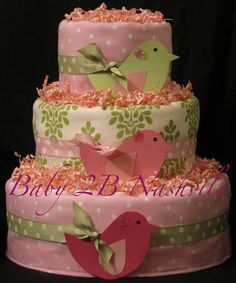 Girls Diaper Cake in Little Birds Pink and Green Baby Shower Centerpiece Gift