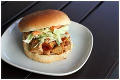 Asian BBQ Tofu Sandwich, my vegetarian cure for barbeque cravings!  Recipe