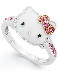 Hello Kitty - Sterling Silver Pink Crystal and Enamel Face Ring. Kawaii so pretty! Hello Kitty Jewelry, Hello Kitty Items, Hello Kitty Stuff, Hello Kitty Clothes, Hello Kitty Nails, Hello Kitty Bag, Sanrio Hello Kitty, Cute Jewelry, Jewelry Rings
