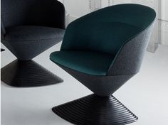 Swivel upholstered fabric armchair with armrests PIVOT | Armchair - Tom Dixon