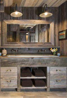 50 Full Rustic Master Bathroom Design Ideas For A Vintage Lover - Page 21 of 51 Rustic Master Bathroom, Bathroom Vanity Decor, Rustic Bathroom Designs, Rustic Bathroom Vanities, Modern Farmhouse Bathroom, Rustic Bathroom Decor, Diy Bathroom Remodel, Rustic Bathrooms, Small Bathroom