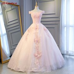 Pink ball gown lace quinceanera dresses off shoulder 15 sweet 16 puffy quinceanera gown prom dresses for 15 years Pink Party Dresses, Cute Prom Dresses, Quince Dresses, Sweet 16 Dresses, Ball Dresses, Pretty Dresses, Pink Ball Gowns, Chiffon Dresses, Long Dresses