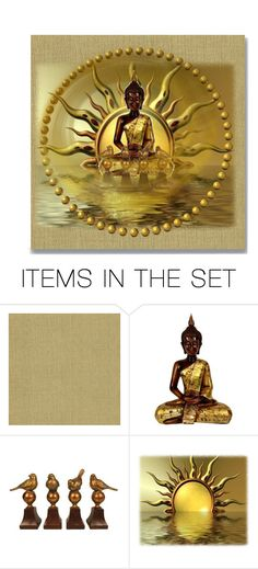 """Gold Art Collage"" by lovetodrinktea ❤ liked on Polyvore featuring art"
