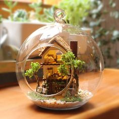 Online Shop DIY Glass Ball Doll House Model Building Kits Wooden Mini Handmade Miniature Dollhouse Toy Birthday Christmas Gift|Aliexpress Mobile