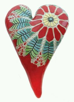"""Red Daisy Heart"" Ceramic Wall Art Created by Laurie Pollpeter Eskenazi"